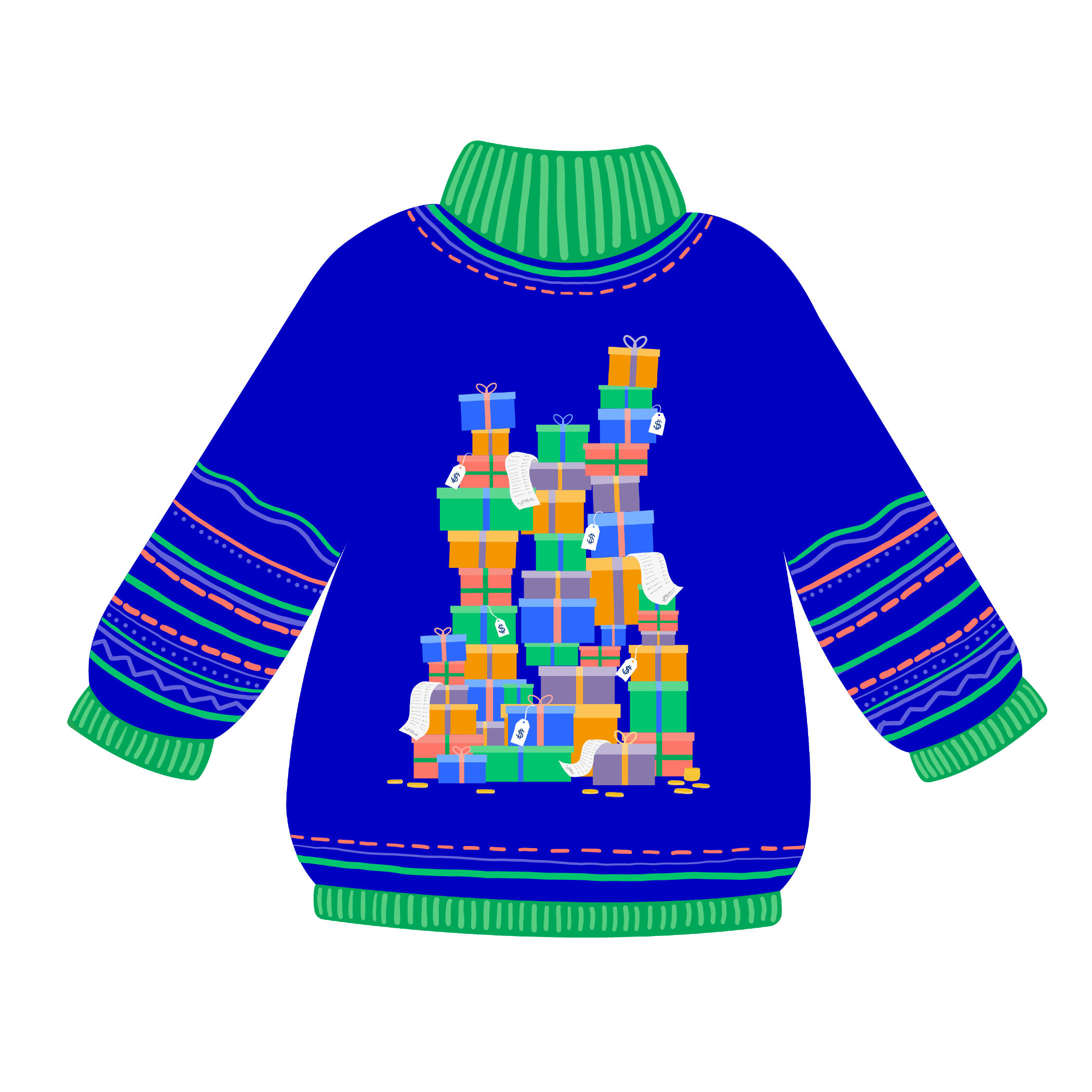 Royal blue sweater with 3 piles of wrapped presents on it