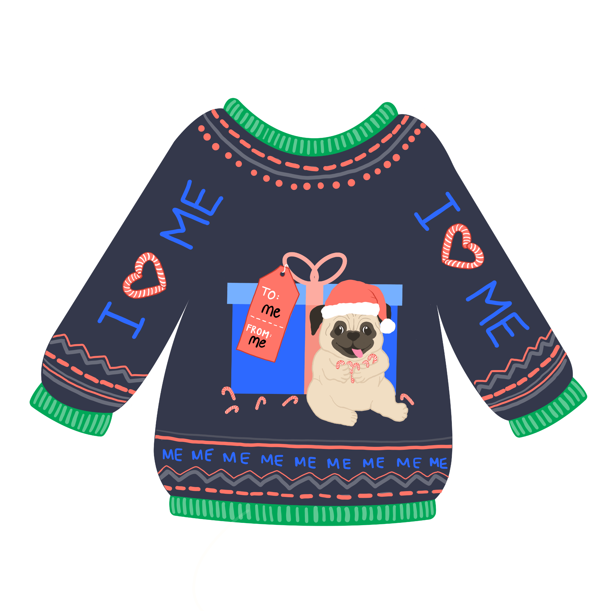 Black sweater with a pug eating candy canes in a santa hat on it